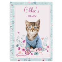 Personalised Rachael Hale Cute Kitten A5 Diary - Ideal gifts for Christmas, Birthdays, Mother's Day, Back to School, For Her.